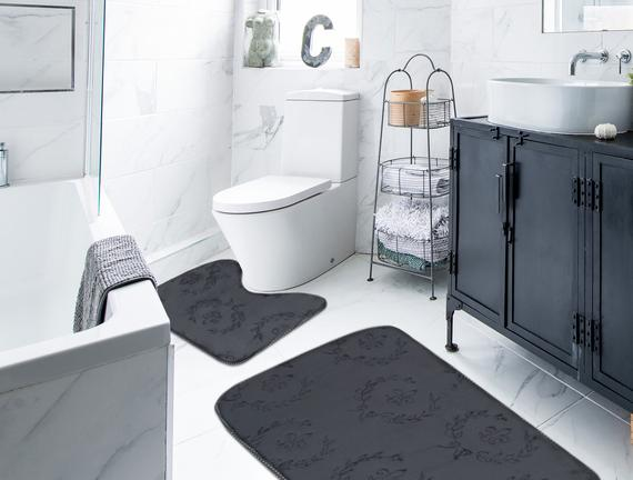 Quilt Banyo Paspas Takımı - Antrasit