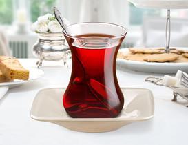 Vallée 6'lı Kare Renkli Çay Tabağı - Ekru