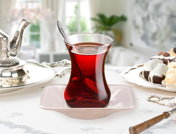 Vallée 6'lı Kare Renkli Çay Tabağı - Vizon