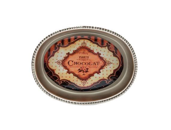 Choco Alüminyum Oval Tabak - Gümüş