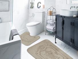 Flannel Desenli İkili Banyo Paspası - Taş