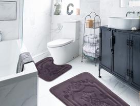 Flannel Desenli İkili Banyo Paspası - Koyu Mürdüm