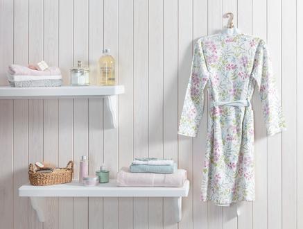 Eglantine Kimono Kadın Baskılı Pike Bornoz - Beyaz / Mavi (L - XL)