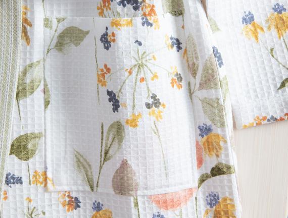 Lavernia Kimono Kadın Baskılı Pike Bornoz - Beyaz / Yeşil (L - XL)