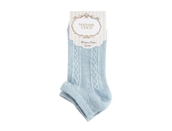Örgü Desen Patik Çorap - Mavi