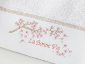 La Bonne Nakışlı Yüz Havlusu - Beyaz / Taş