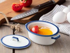 Malin New Bone China Mini Kapaklı Tencere - Beyaz / Mavi