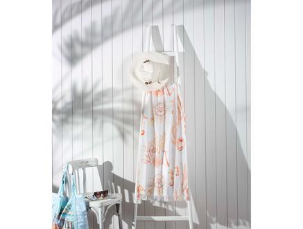 Karen Baskılı Plaj Havlusu - Beyaz / Kırmızı