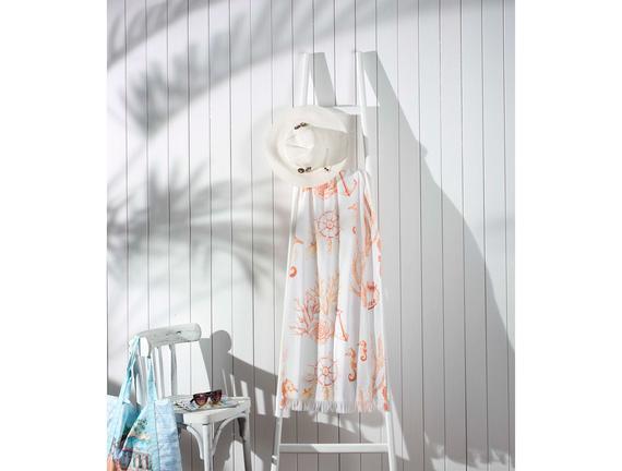 Karen Baskılı Plaj Havlusu - Beyaz / Kırmızı - 70x160 cm