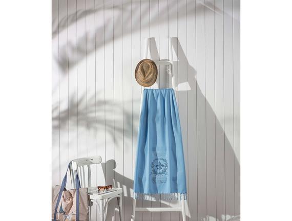 Authentique Baskılı Bağlamalı Plaj Havlusu - Mavi - 80x150 cm