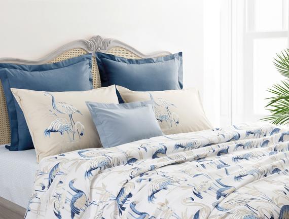 Flamant Çift Kişilik Baskılı Pike Seti - Mavi