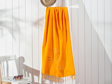 Perroquet Baskılı Bağlamalı Plaj Havlusu - Koyu  Sarı