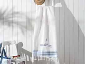 Meganne Baskılı Saçaklı Plaj Havlusu - Mavi / Lacivert