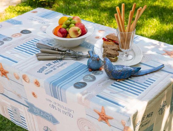 Rusti Silinebilir Masa Örtüsü - Mavi