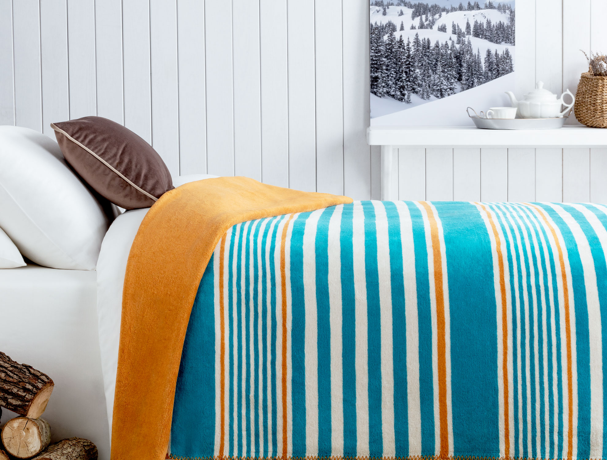 Mercy Cotton Striped Double Blanket 200x220 cm