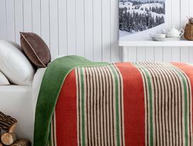 Mercy Pamuklu Çizgili Tek Kişilik Battaniye - Kremit / Yeşil
