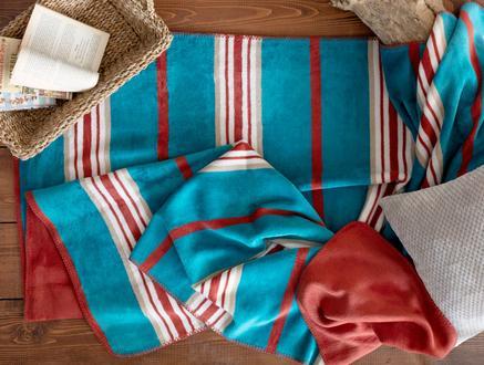 Mercy Pamuklu Çizgili Tek Kişilik Battaniye - Mavi / Kiremit