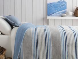 Mercy Pamuklu Çizgili Çift Kişilik Battaniye - Gri / Mavi