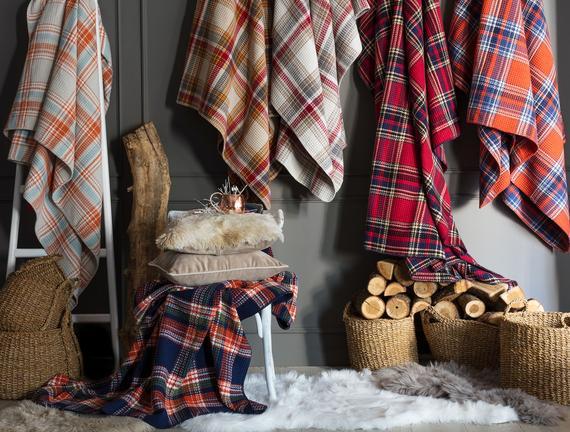 Skotch Çift Kişilik Ekoseli Pamuklu Battaniye - Ekru / Antrasit