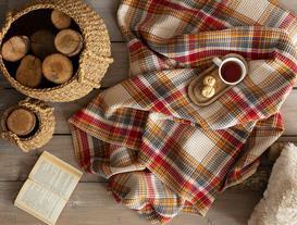 Skotch Tek Kişilik Ekoseli Pamuklu Battaniye - Ekru / Antrasit