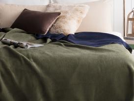 Arcadia Çift Taraflı Çift Kişilik Battaniye - Lacivert / Yeşil