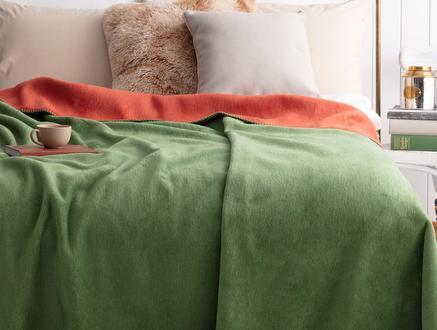 Arcadia Çift Taraflı Çift Kişilik Battaniye - Kiremit / Yeşil