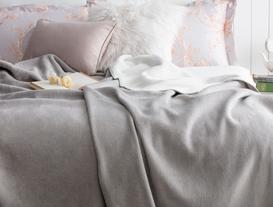 Arcadia Çift Taraflı Çift Kişilik Battaniye - Gri / Beyaz
