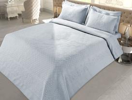 Le Creusot Çift Kişilik Örme Yatak Örtüsü - Açık Mavi
