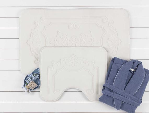Flannel Desenli İkili Banyo Paspası - Ekru