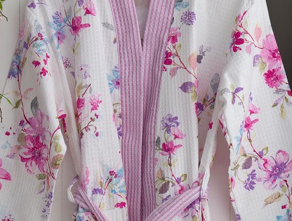 Prunus Kimono Kadın Baskılı Pike Bornoz - Beyaz / Pudra (S - M)