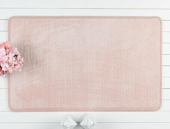 Jacquard Flannel Bath Mat - Powder