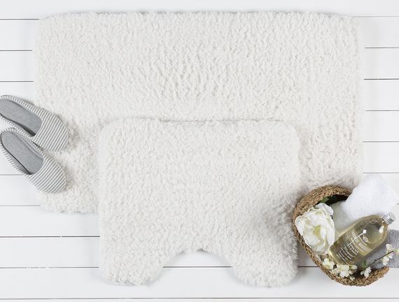 Sheep Bath Mat Set - Ecru
