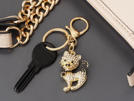 Kedi Figürlü Anahtarlık - Gold