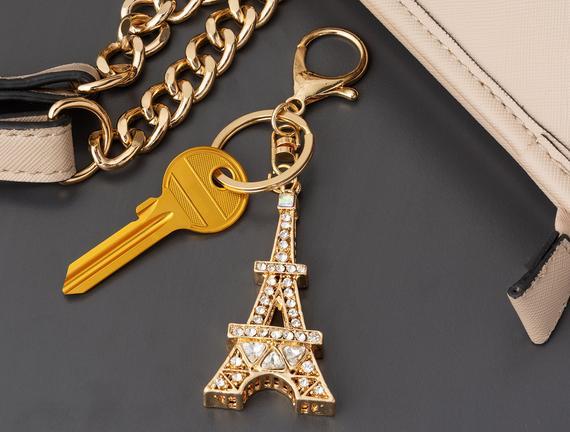 Eyfel Kulesi Figürlü Anahtarlık - Gold