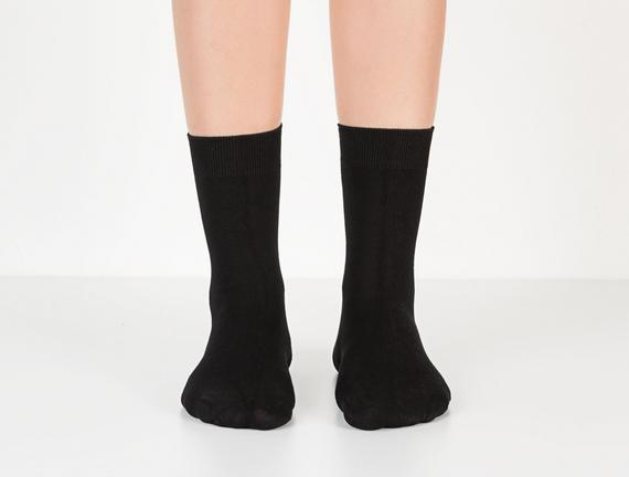 Tek Renk Soket Kadın Çorabı - Siyah