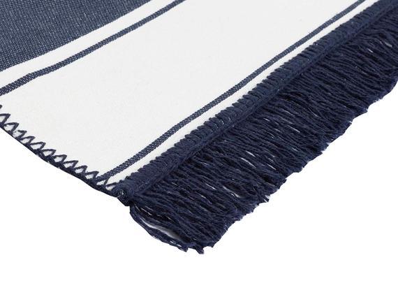 Ruban Saçaklı Dokuma Kilim - Lacivert / Beyaz - 80x150 cm