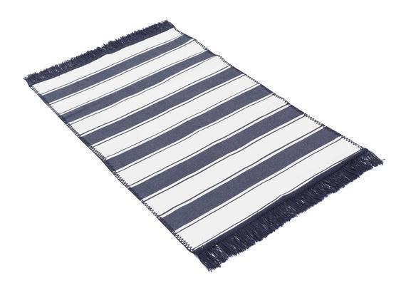 Tigrer Saçaklı Dokuma Kilim - Lacivert / Beyaz - 60x100 cm