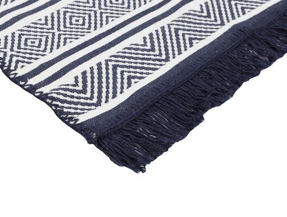 Ruban Ethnique Saçaklı Dokuma Kilim - Lacivert / Beyaz
