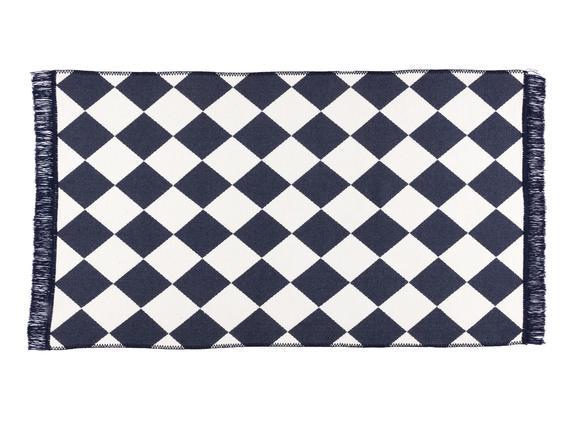 Dama Saçaklı Dokuma Kilim - Lacivert / Beyaz - 80x150 cm