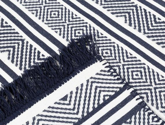Ruban Ethnique Saçaklı Dokuma Kilim - Lacivert / Beyaz - 80x150 cm