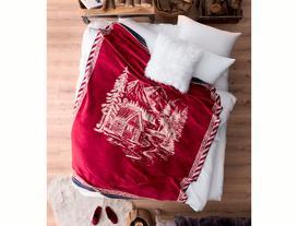 Maison Pamuklu Jakarlı Çift Kişilik Battaniye - Kırmızı / Antrasit