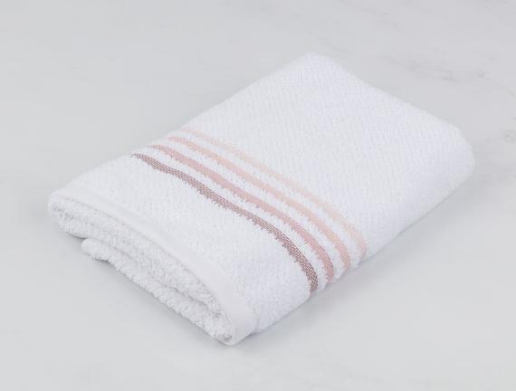 Ruban Armürlü El Havlusu - Beyaz / Pudra - 30x45 cm