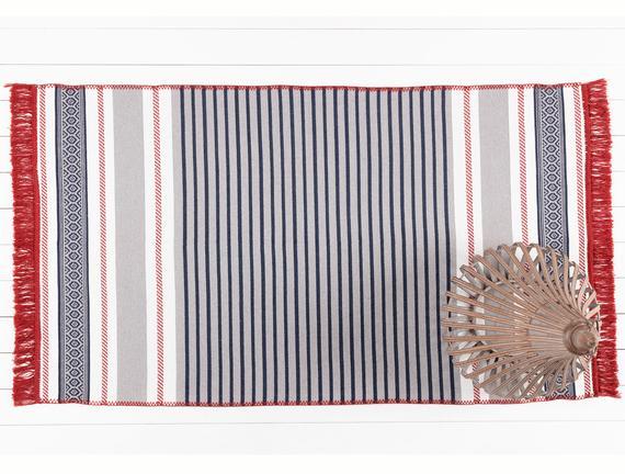Ruban Ethnique Saçaklı Dokuma Kilim - Lacivert / Gri - 80x150 cm