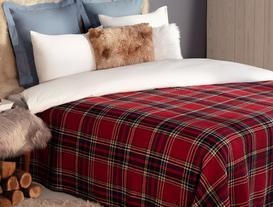 Skotch Tek Kişilik Ekoseli Pamuklu Battaniye - Kırmızı / Lacivert