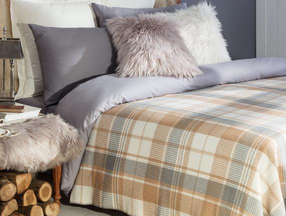 Scotch Double-Size Plaid Cotton Blanket - Grey/Beige