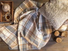 Skotch Tek Kişilik Ekoseli Pamuklu Battaniye - Gri / Bej