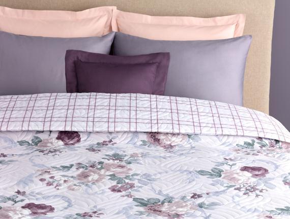 Pastel King Size Yatak Örtüsü - Gri / Mürdüm