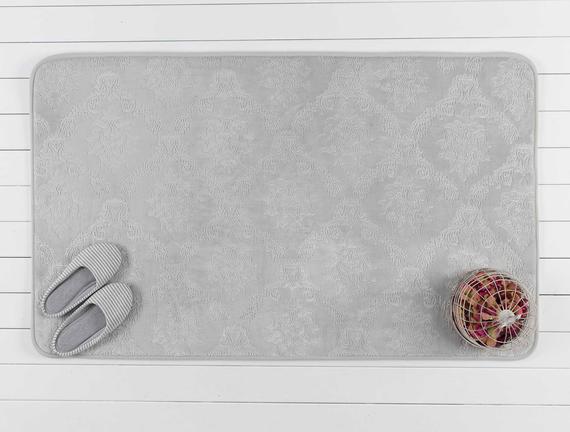 Emboss Banyo Paspası - Gri