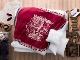 Maison Pamuklu Jakarlı Tek Kişilik Battaniye - Kırmızı / Antrasit