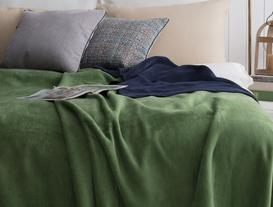Arcadia Çift Taraflı Tek Kişilik Battaniye - Lacivert / Yeşil